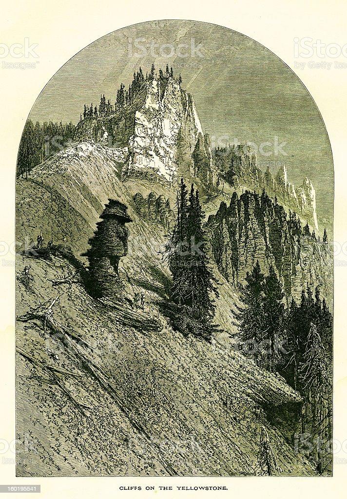 Cliffs on Yellowstone, USA royalty-free stock vector art