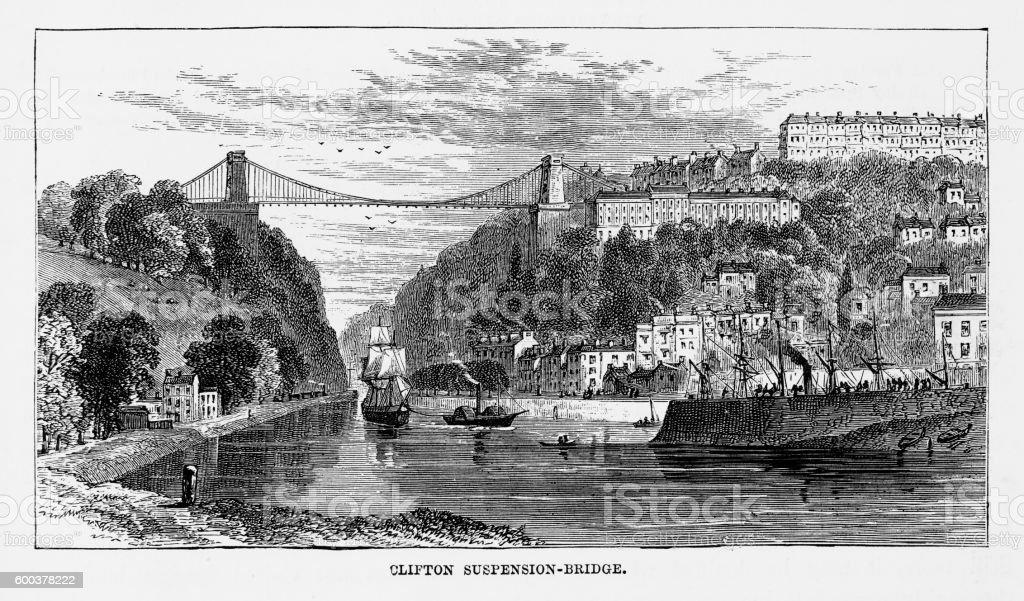 Clifton Suspension Bridge in Bristol, England Victorian Engraving, Circa 1840 vector art illustration