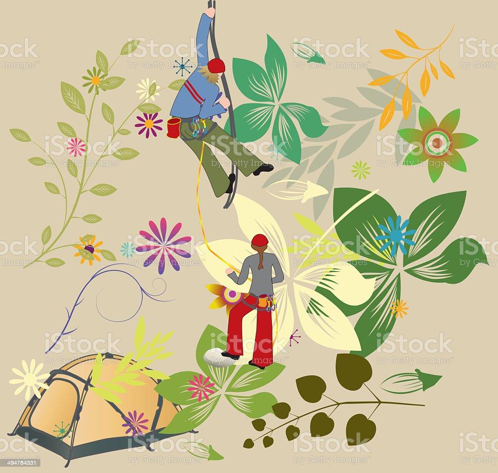 Climbing vector art illustration