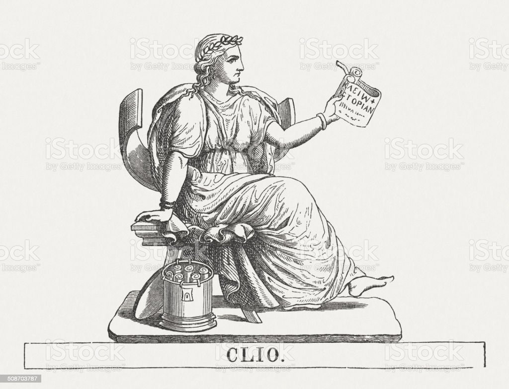 Clio, Greek muse of history, wood engraving, published in 1878 vector art illustration