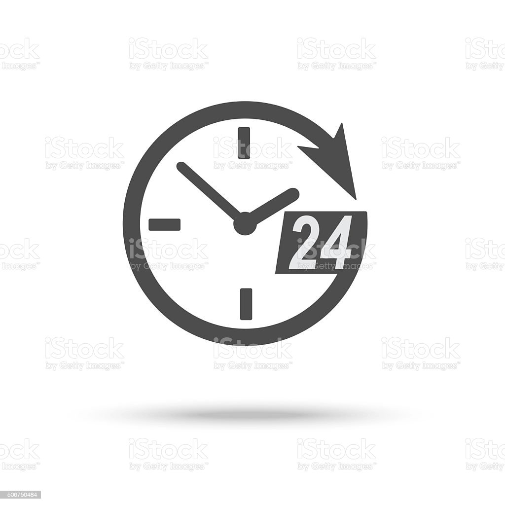 Clock icon of 24 hour assistance vector art illustration