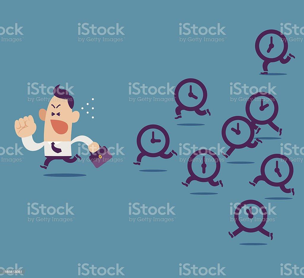 Clocks pursuing after a businessman. vector art illustration