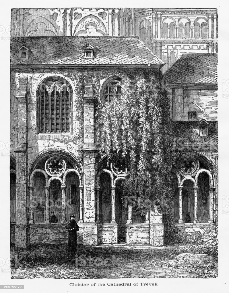 Cloister of Cathedral of Treves in Trier, Germany, Circa 1887 vector art illustration
