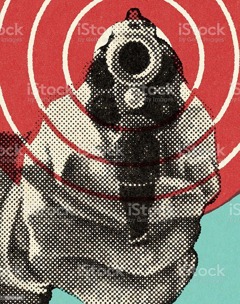 Close Range Handgun vector art illustration