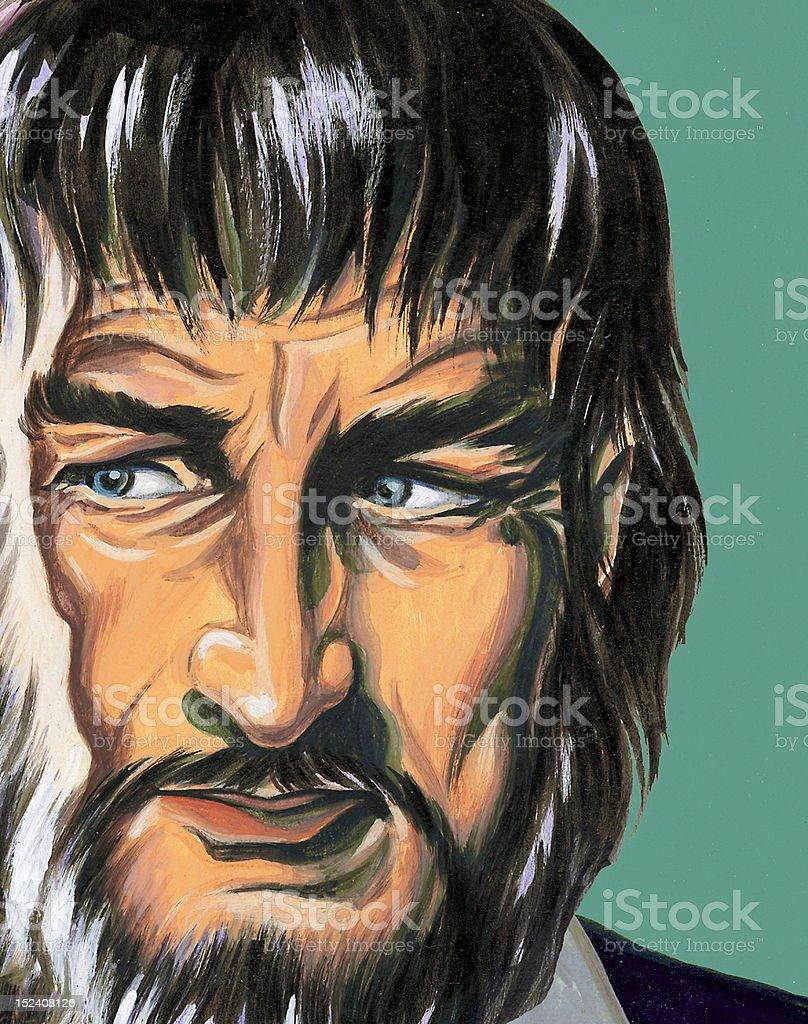 Close Up Creepy Bearded Man royalty-free stock vector art
