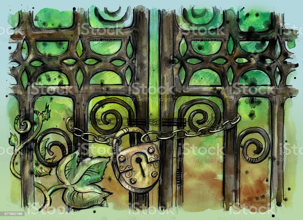 Close up illustration of old gothic gate with padlock vector art illustration