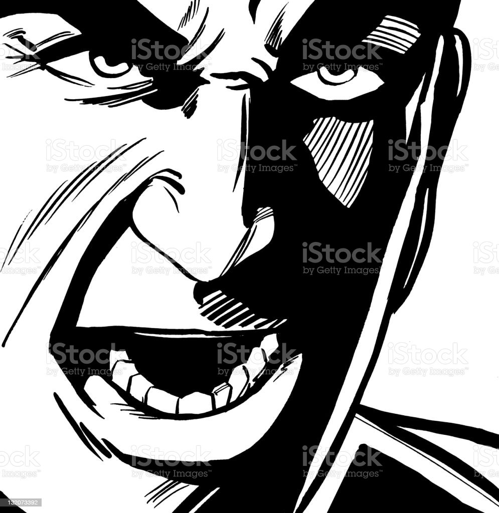 Close up of Angry Man royalty-free stock vector art