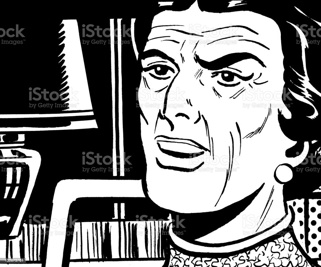 Close up of Elderly Woman royalty-free stock vector art