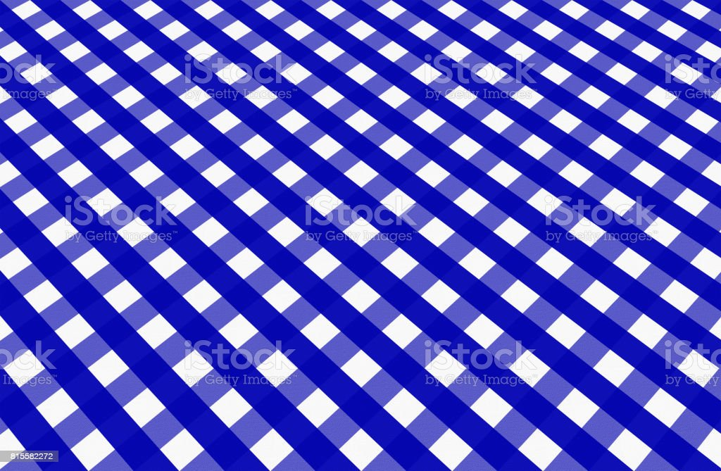 Close up of empty blue checkered tablecloth in perspective, with copy space. vector art illustration