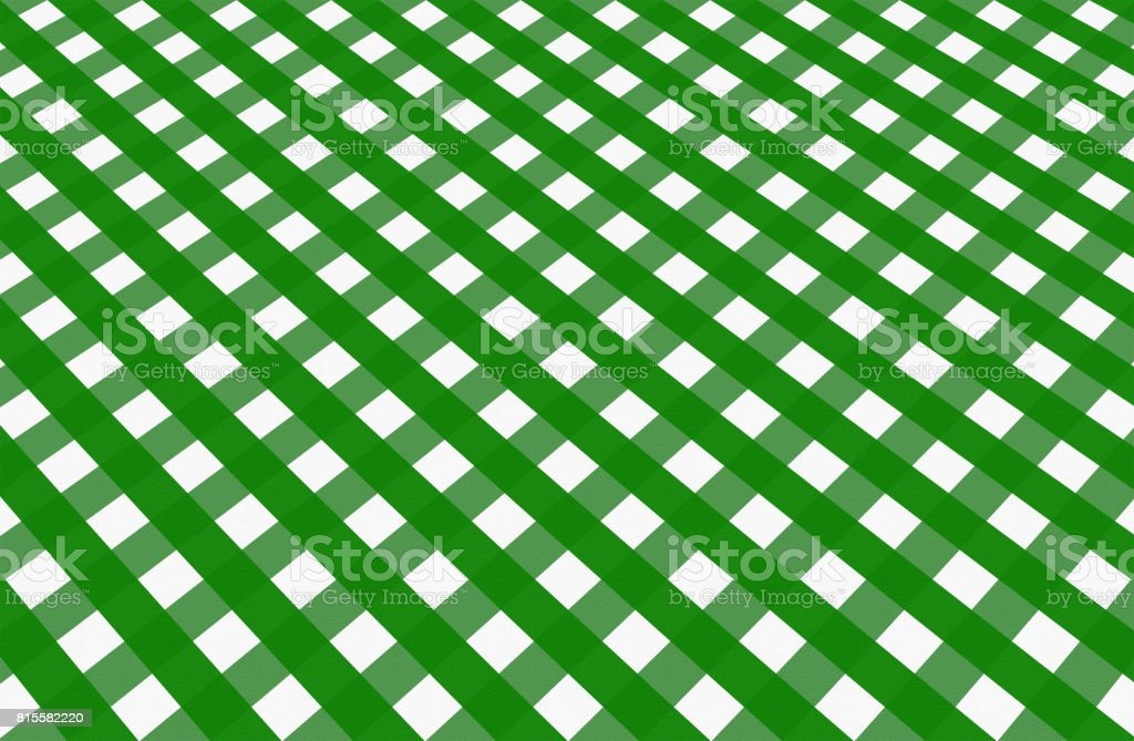 Close up of empty green checkered tablecloth in perspective, with copy space. vector art illustration