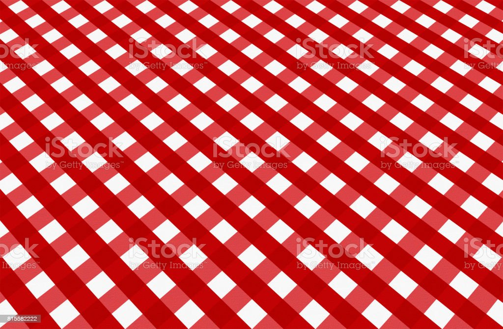 Close up of empty red checkered tablecloth in perspective, with copy space. vector art illustration