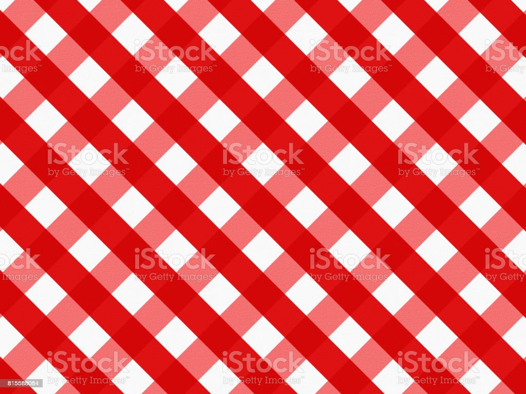 Close up of empty red checkered tablecloth, with copy space. vector art illustration