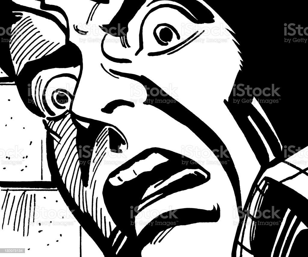 Close up of Frightened Man vector art illustration