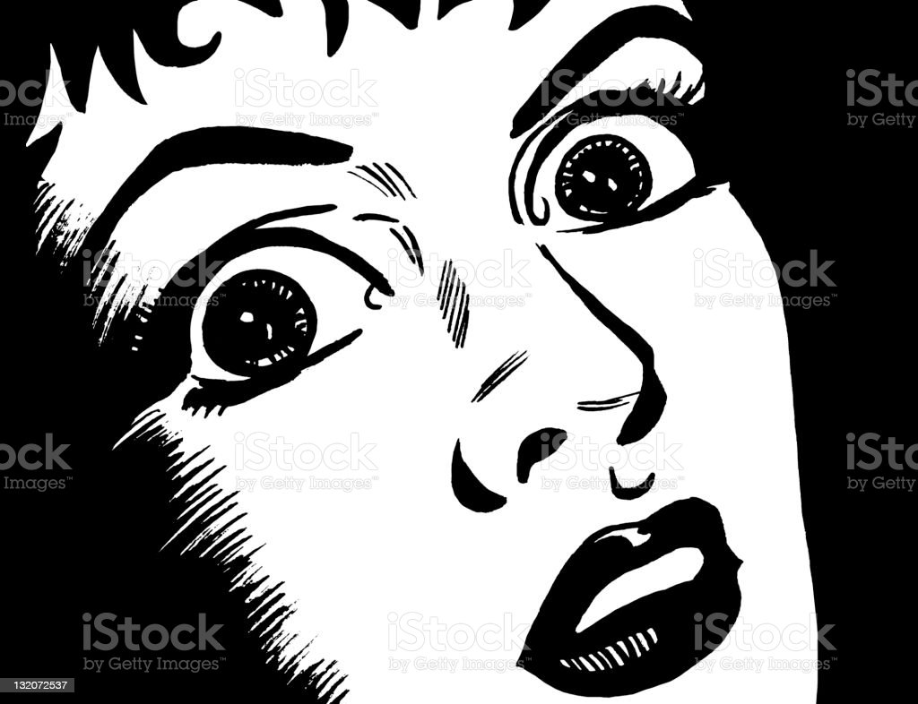 Close up of Frightened Woman's Face vector art illustration