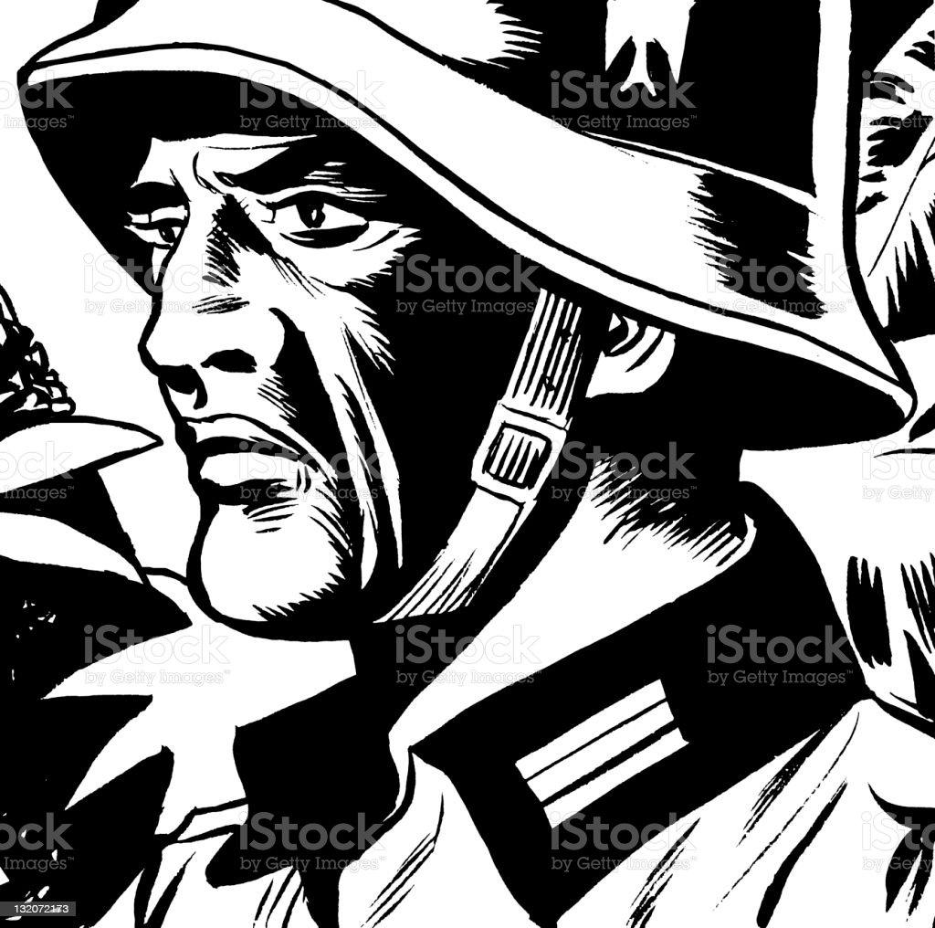 Close up of German Soldier vector art illustration