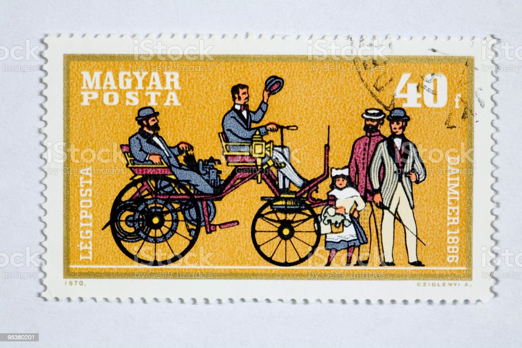 Close up of hungarian post stamp vector art illustration