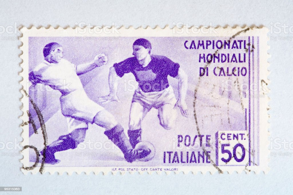 Close up of italian post stamp with soccer player royalty-free stock vector art