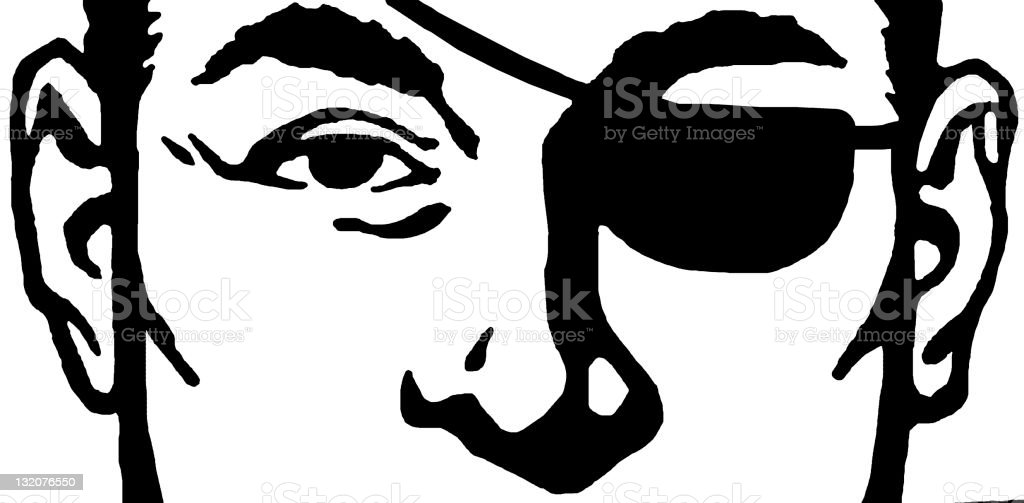 Close up of Man Wearing Eye Patch royalty-free stock vector art