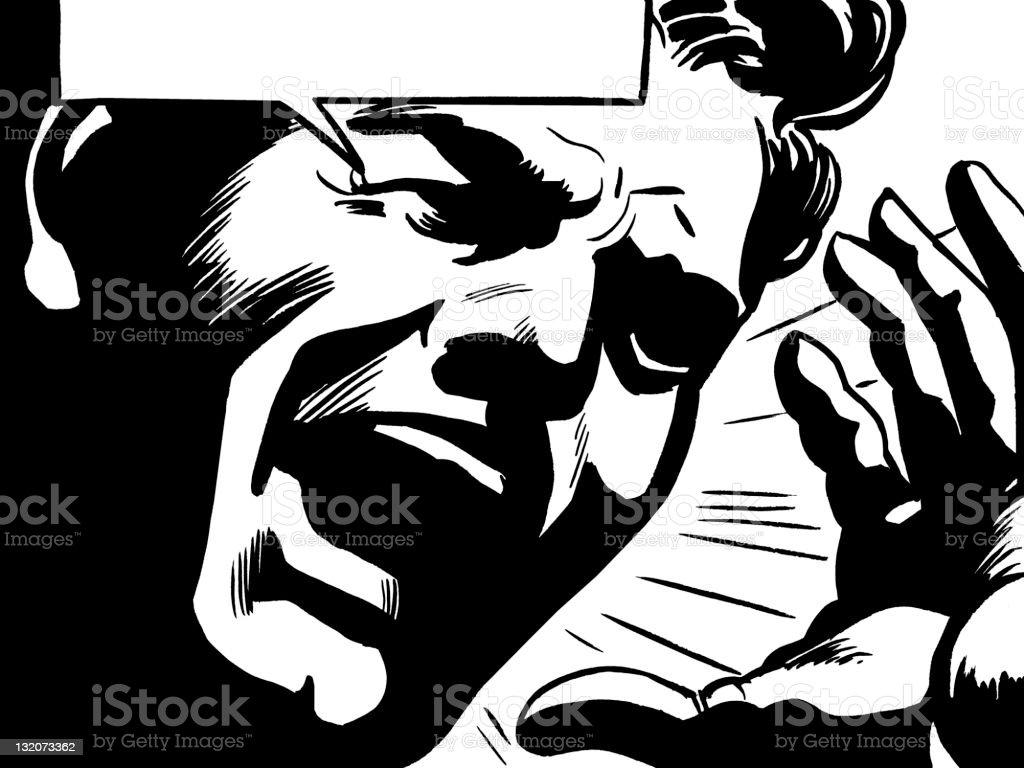 Close up of Man Yelling With Speech Balloon vector art illustration