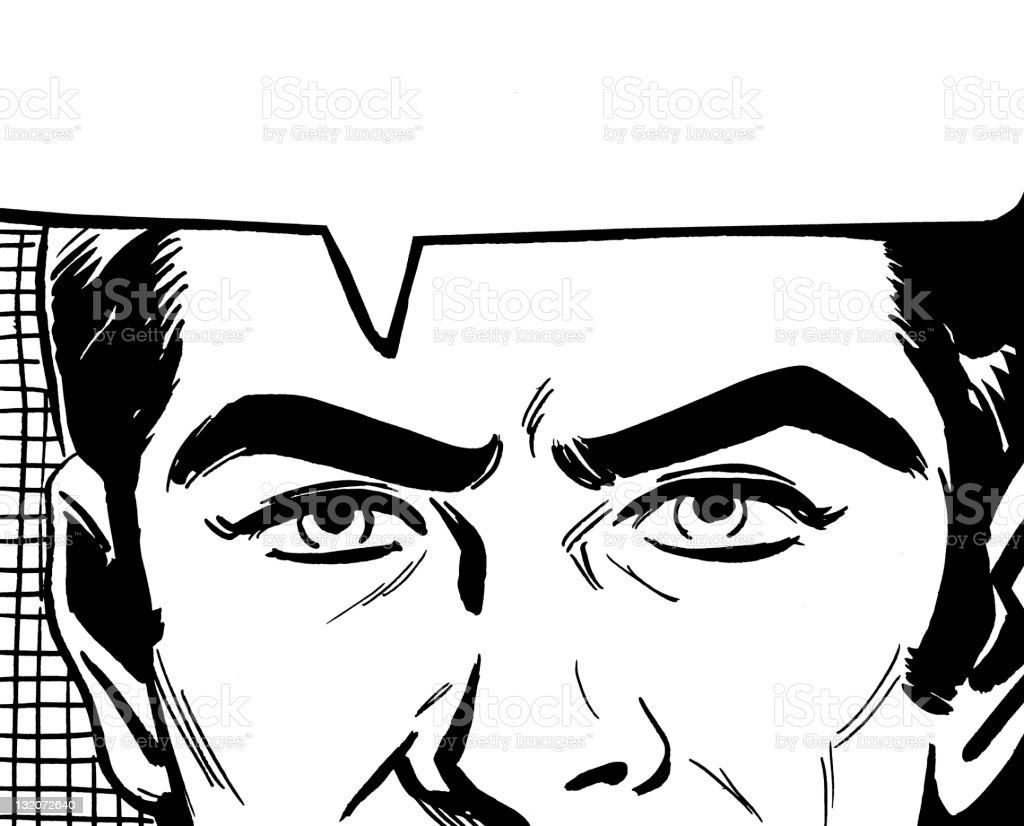 Close up of Man's Eyes and Speech Balloon vector art illustration