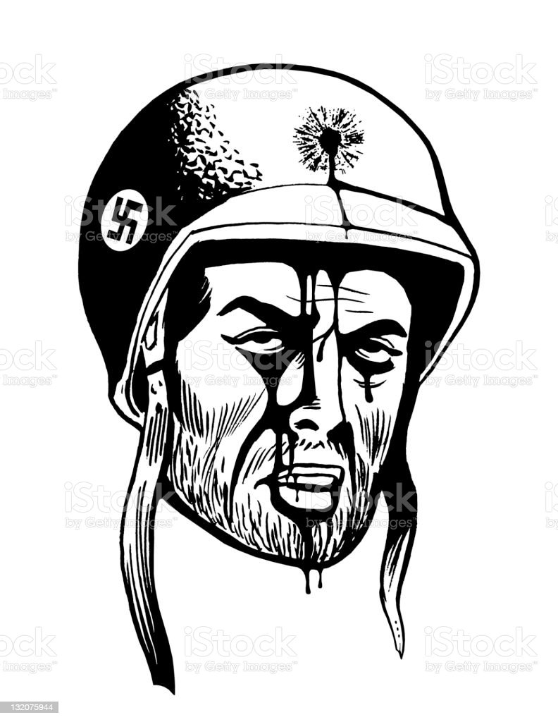 Close up of Nazi Soldier With Head Wound royalty-free stock vector art