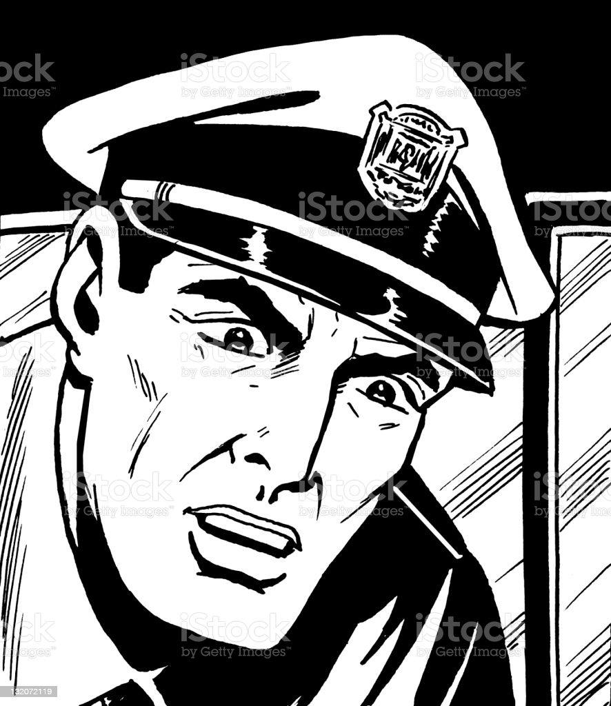 Close up of Policeman royalty-free stock vector art