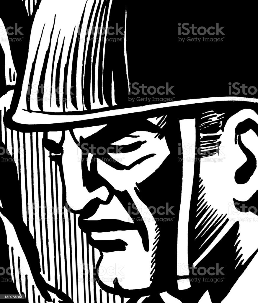 Close up of Soldier's Face royalty-free stock vector art