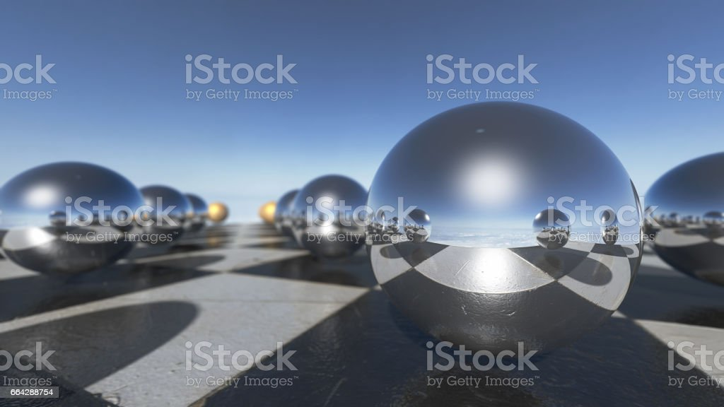 Close up of surreal oprganic spheres on a checkerboard. stock photo