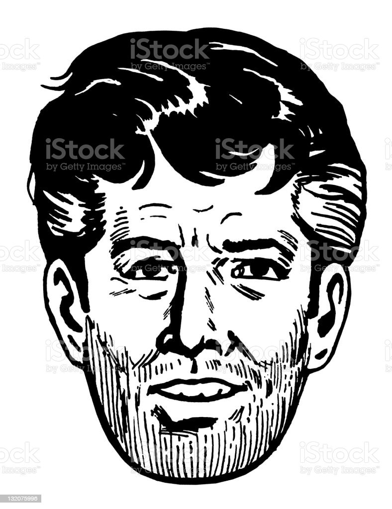 Close up of Unshaven Dark Haired Man vector art illustration