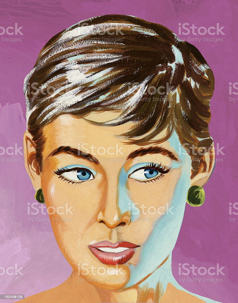 Close Up of Woman With Short Hair royalty-free stock vector art