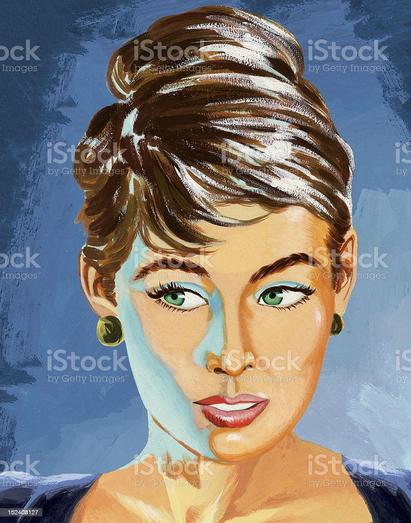 Close Up of Woman With Updo royalty-free stock vector art