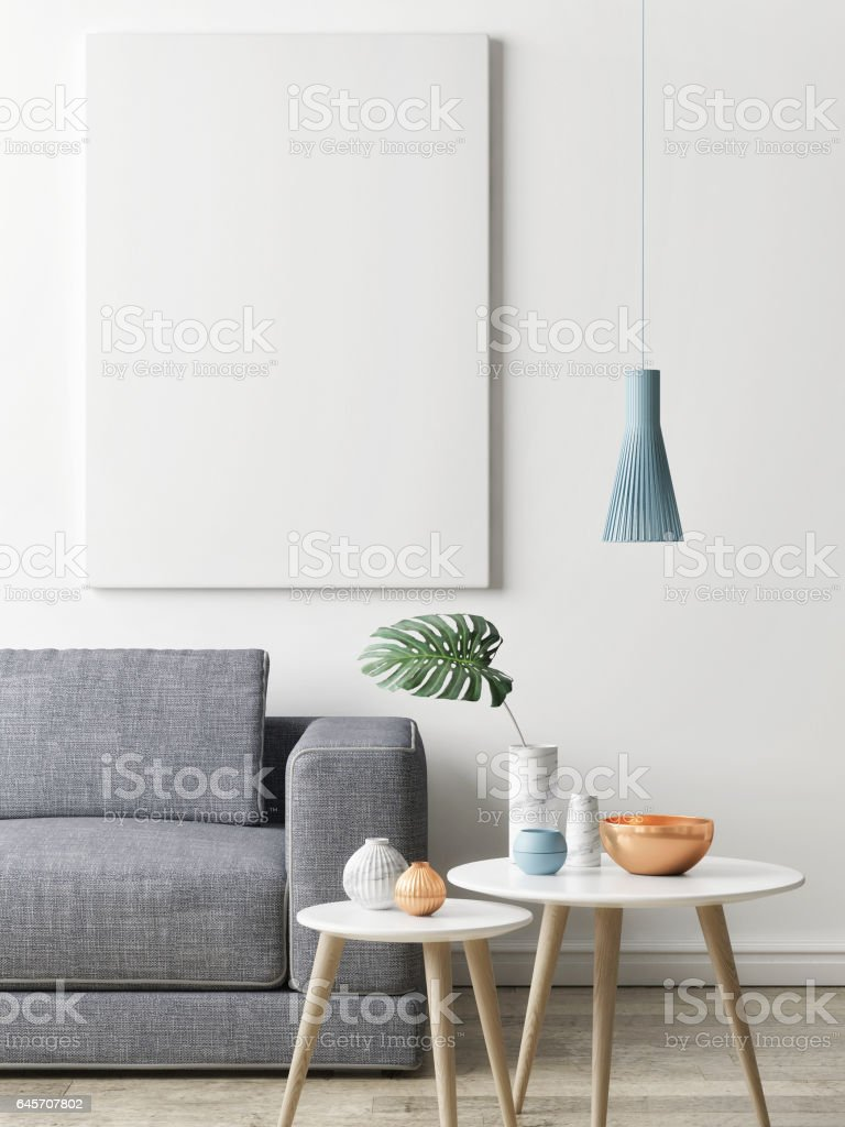Close Up Poster In Hipster Living Room Background Royalty Free Stock Vector Art