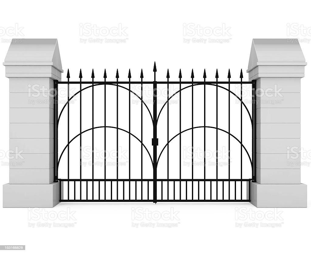 Closed Iron Gate vector art illustration