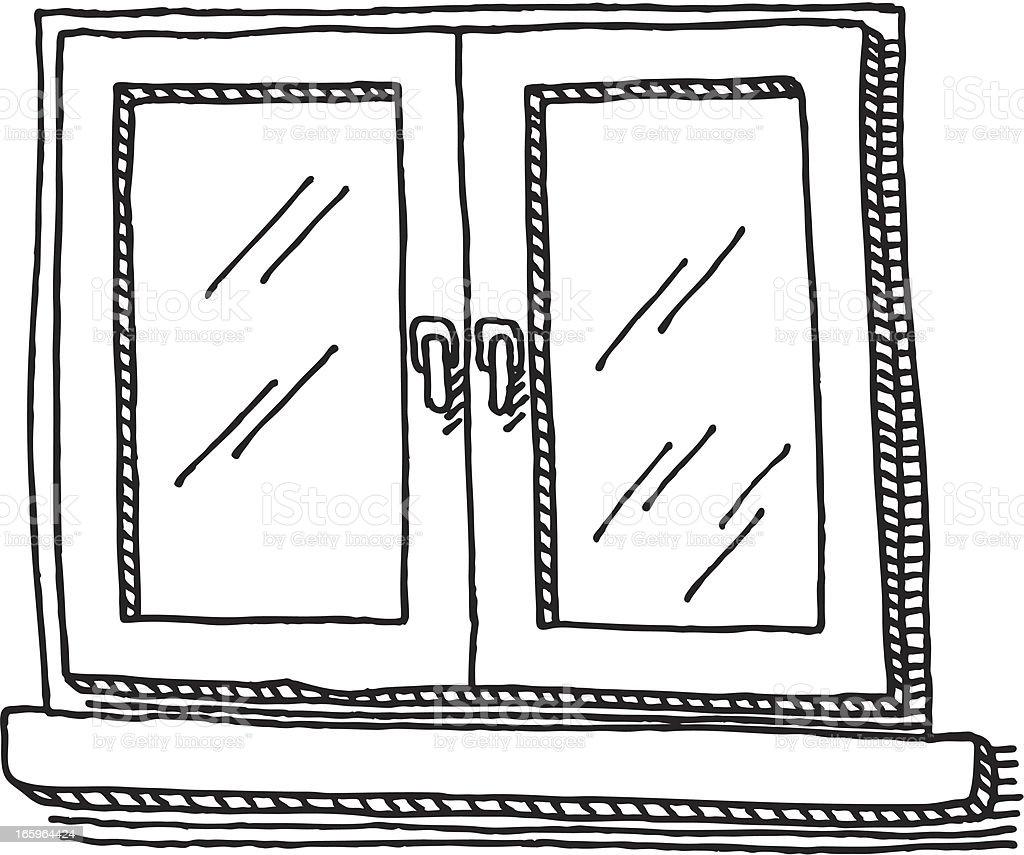 Fenster clipart schwarz weiß  Geschlossenen Fenster Zeichnung Vektor Illustration 165964424 | iStock