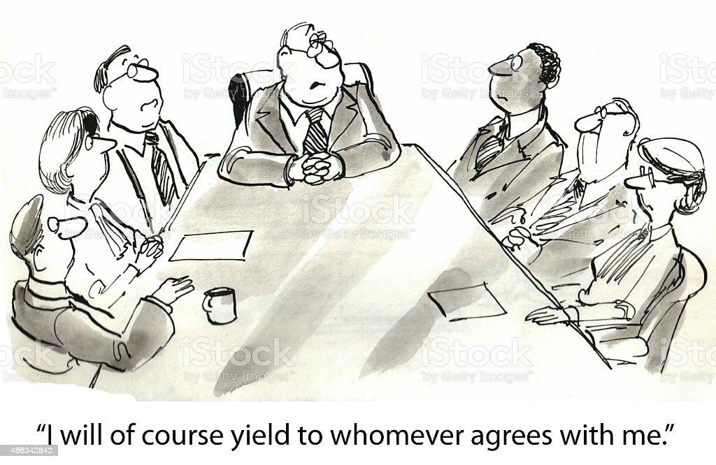 Close-Minded Boss vector art illustration