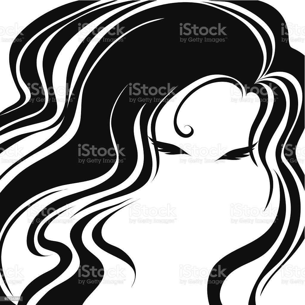 Closeup decorative vintage woman with beautiful long hair royalty-free stock vector art