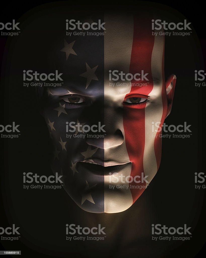 Closeup Illustration of Man Wearing USA Flag Face Paint royalty-free stock vector art