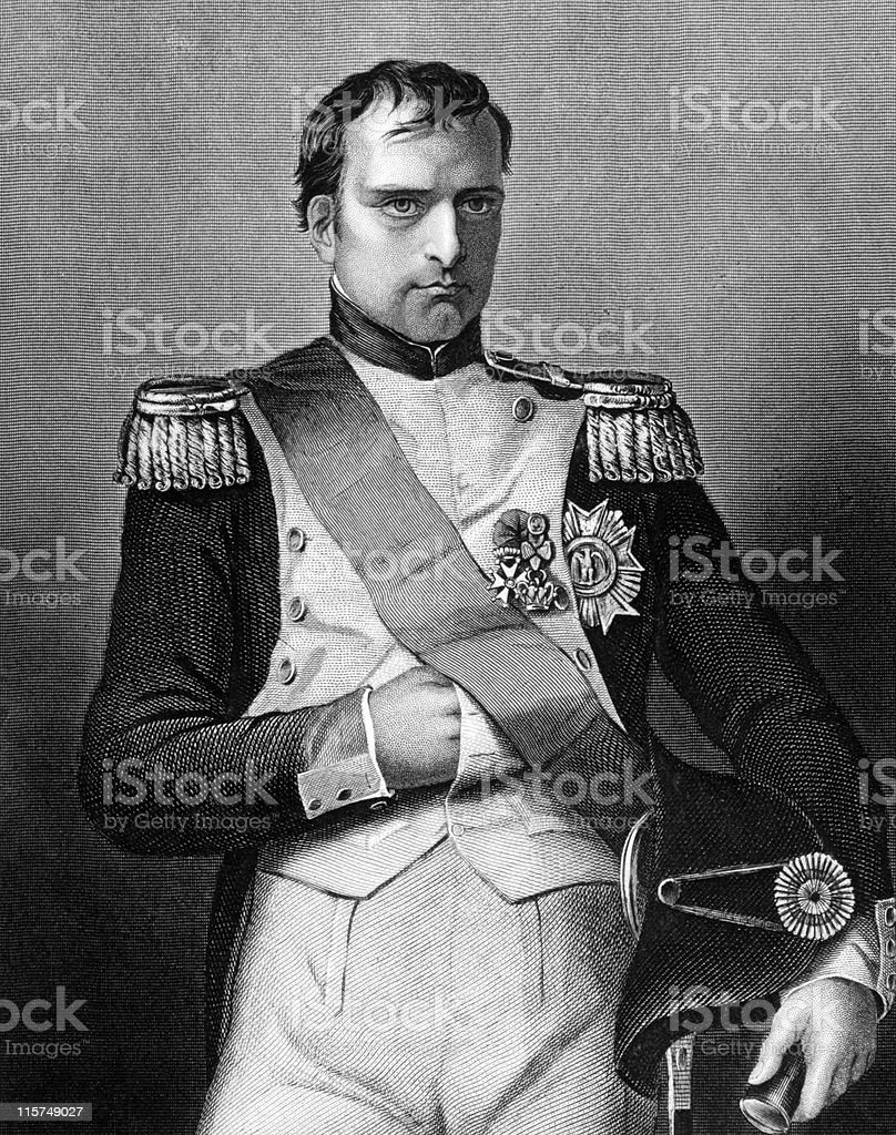 Close-up of a black and white portrait of Napoleon Bonaparte royalty-free stock vector art