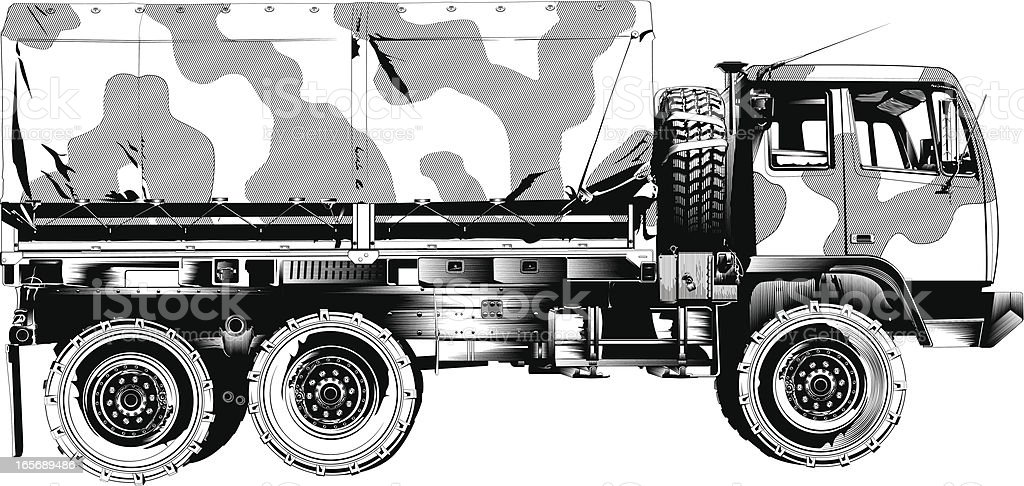 Close-up of an army truck royalty-free stock vector art