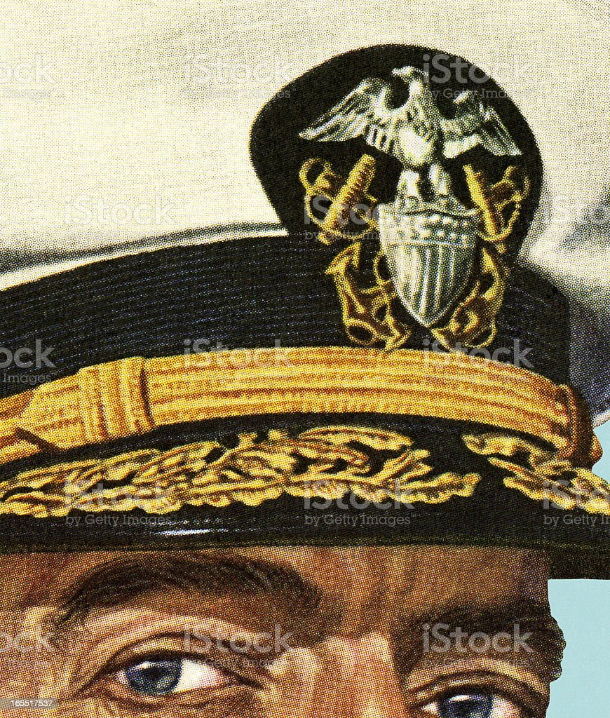 Closeup of an Officer's Hat royalty-free stock vector art