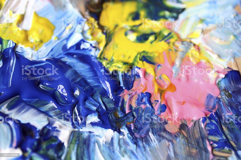 Closeup of artist palette. vector art illustration