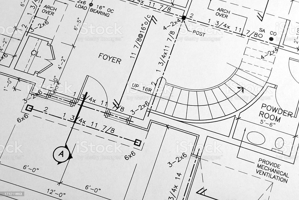 Close-up of blueprints of a family house royalty-free stock vector art