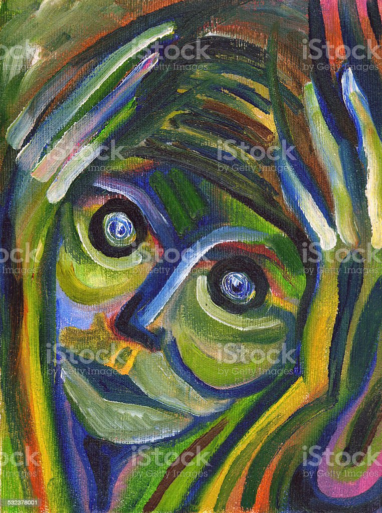 Closeup portrait of really stressed out person vector art illustration