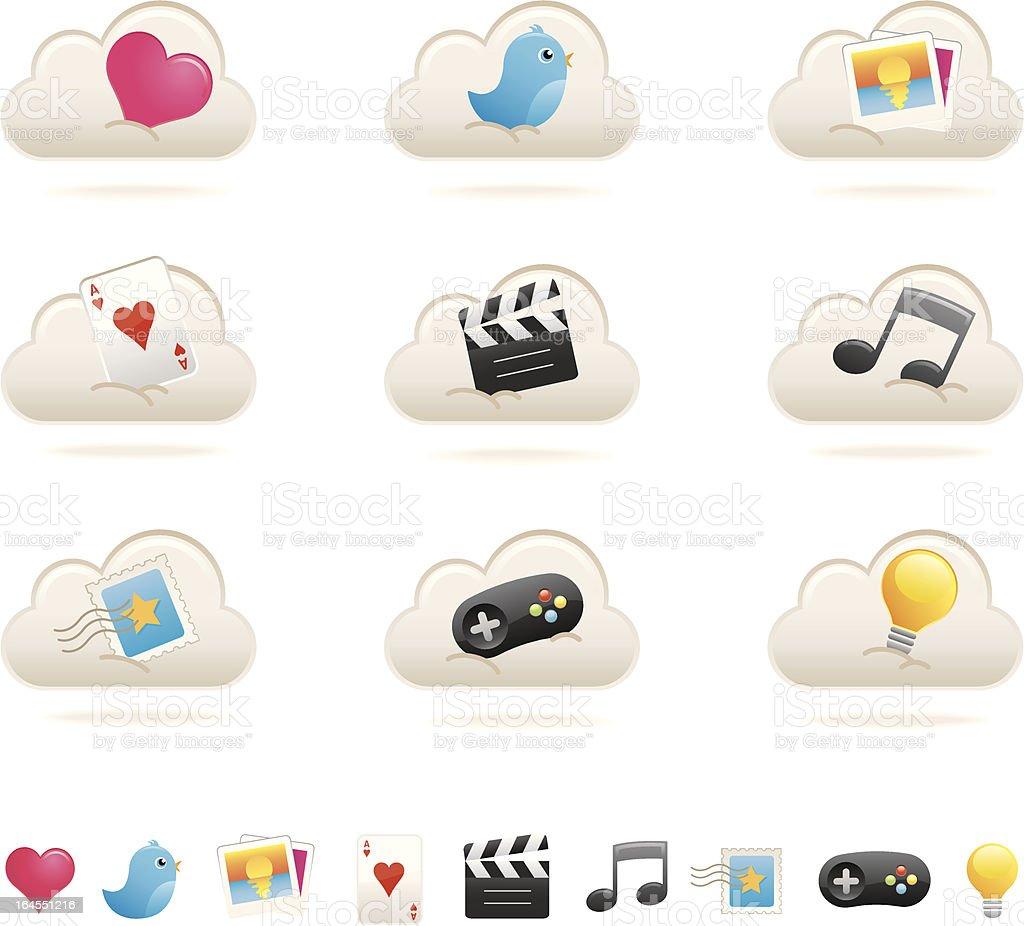 Cloud computer icons - Set 1 royalty-free stock vector art