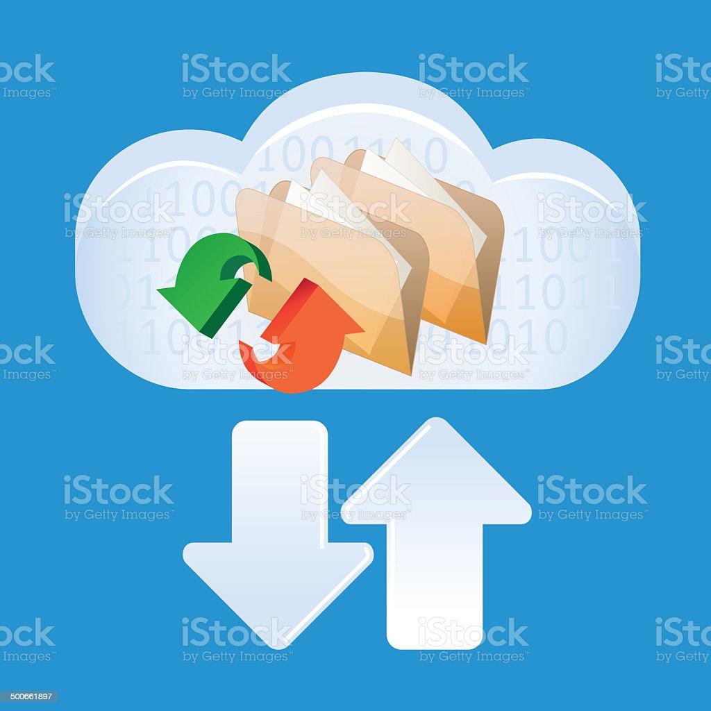 cloud computing and file sharing vector art illustration