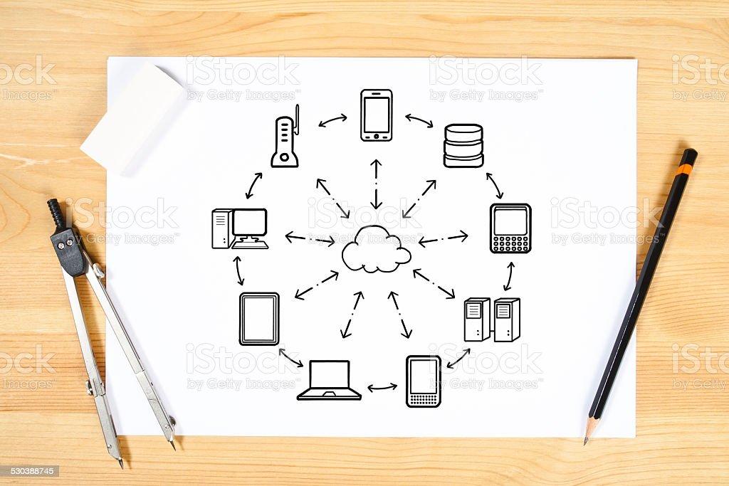 Cloud computing devices vector art illustration
