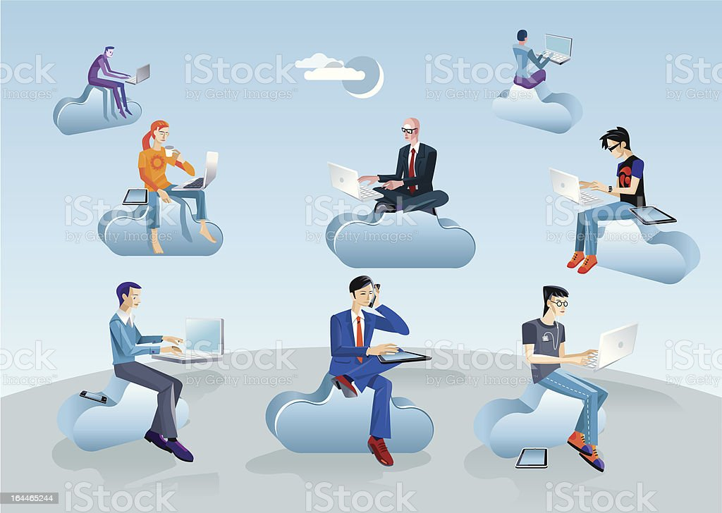 Cloud Computing Men Sitting In Clouds royalty-free stock vector art