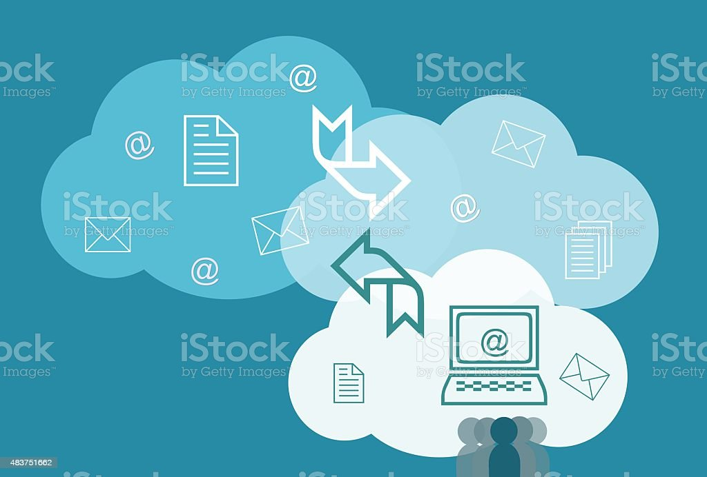 Cloud computing technology concept vector art illustration