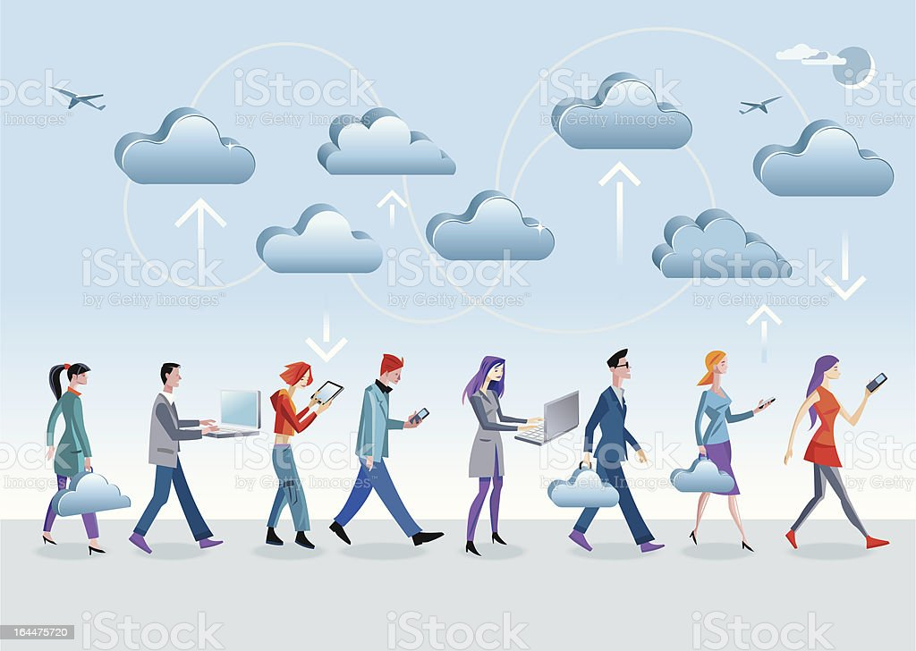 Cloud Computing Walking royalty-free stock vector art