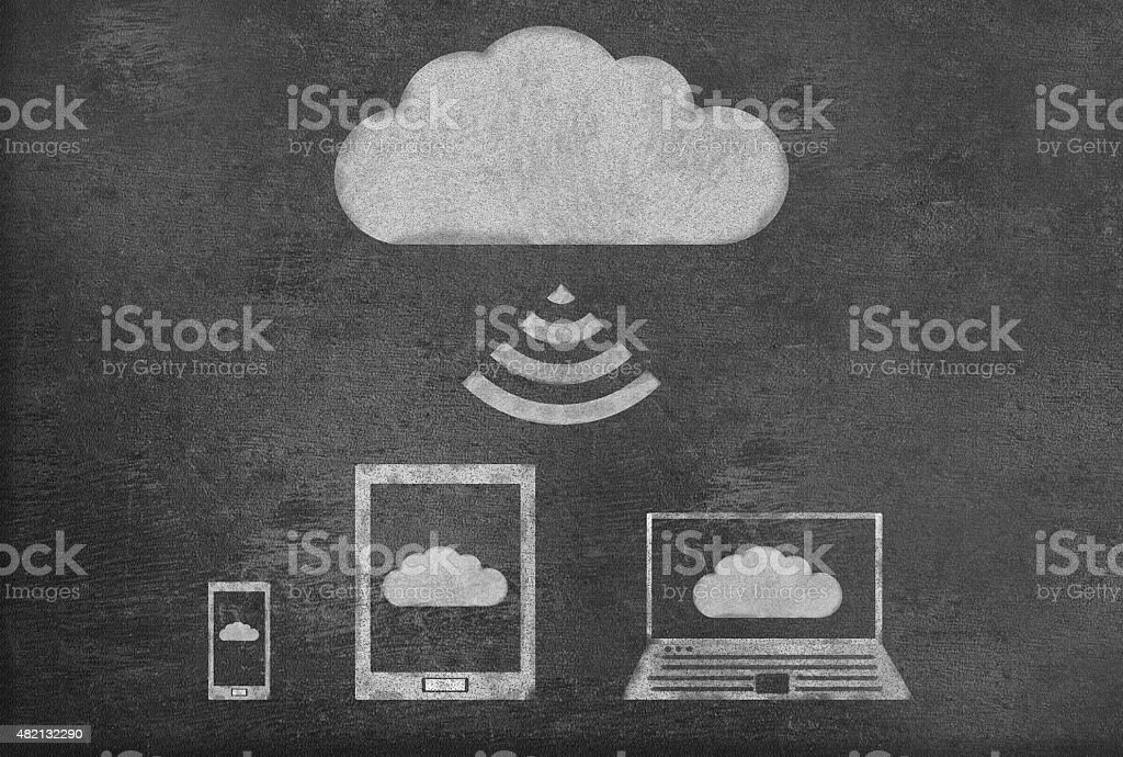 Cloud computing with tablet on a Blackboard vector art illustration
